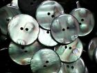 Large 34mm 54L Pearlescent Shell Effect Ivory Green 2 Hole Coat Button (W163)