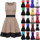 Womens Ladies Sleeveless Stretchy Knee Length Contrast Panel Flared Skater Dress