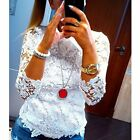 New Sexy White Collar hollow-out Embroidered Long Sleeve Womens Clothing T-shirt