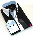 Brand New Mens Formal, Smart, Black with White Collar Slim Fit Shirt, Business