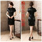 Junoesque Chinese Women's Silk Saitn Mini Dress Cheongsam Black SZ S - 6XL