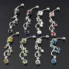 8 Colors 5-Gems Belly Navel Ring Vine Dangle Round Crystal Button 14G EW