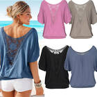 Sexy Women Summer Lace Loose Top Short Sleeve Blouse Ladies Casual Top T-Shirt