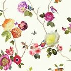 Arthouse Charmed White Wallpaper Floral Birds Butterfly Nature Rose 889801