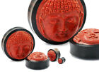 Carved Red Coral Buddha Face on Areng Wood Base Plug - 8mm - 50mm Price Per 1