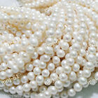 New 7-8mm White Natural Freshwater Pearl Round Loose Beads 15''
