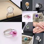 CHIC NEW Ring Jewelry Adjustable Elegant Dandelion Glass Dried Flowers Series BF