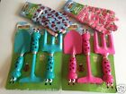Kids Fun Childrens Gardening Set Tools Metal Spade Fork Rake & Gloves Pink Blue