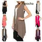 USA WOMEN OPEN FRONT CARDIGAN VEST SHAWL COLLAR TUNIC SLEEVELESS TOP S-3XL