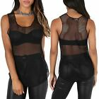 Womens Stretchy See Through Scoop Neck Fish Net Ladies Beach Summer Top