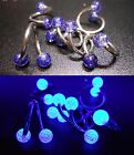 10mm/11m Surgical Steel Septum Labret Tragus Twist Ring - UV Blue Glitter