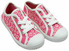 Girls Daisy Flower Canvas Lace Up Pumps Trainers Pink Toddler Shoe Sizes 4 to 8
