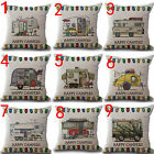 Happy Campers Linen Pillow Sofa Square Case Waist Throw Cushion Cover Home Decor