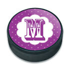 Ice Hockey Puck Letter Initial Flower Purple