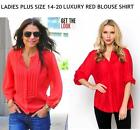 LADIES CURVE PLUS SIZE 18 HOT RED TOP BLOUSE SUMMER BEACH CASUAL SHIRT KAFTAN