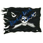 Pirate Skull Cross Swords Black Flag Decal Sticker- Car Truck RV Cup Boat Tablet