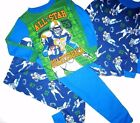 4 pc Football All Star Quarterback Pajama size 4 6 Long Sleeve Blue Green Cotton
