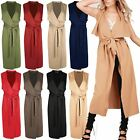 Womens Front Open Tie Belted Waterfall Midi Length Duster Ladies Cape Cardigan