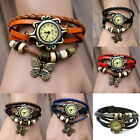 Women Vintage Charm Fashion Butterfly Bracelet Faux Leather Quartz Wrist Watch *