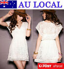 Sweet Girl Crochet Lace Tunic Summer Cocktail Prom Party Little White Mini Dress