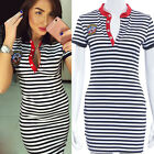 Womens Short Sleeve Striped Bodycon Slim Evening Party Cocktail Mini Dress New Z