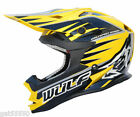 WULFSPORT YELLOW MOTOCROSS ENDURO HELMET (ALL SIZES) ROAD LEGAL RM DRZ DR RMZ XR