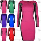 Ladies Long Sleeve Side Mesh Fit Bodycon Dress Womens Party Pencil Evening Dress