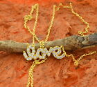 LOVE Necklace with Cz Stones-Sterling Silver- Love Necklace,Gift Idea!!