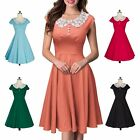 Rockabilly Housewife Party Cotton Lace Doll Collar Dress Sexy Women Swing Dress