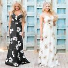 Women Ladies Sexy Evening Party Boho Summer Beach Long Maxi Dress Sundress AU