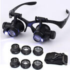 25x Magnifying Eye Magnifier Glasses Loupe Lens Jeweler Watch Repair LED Light
