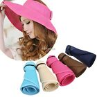 Women's Summer Wide Brim Roll Up Foldable Sun Beach Straw Visor Hat Cap Casual