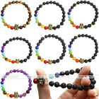 8mm 7 Chakra Healing Lava Rock Agate Gems Beads Crown Lion Owl Elastic Bracelets