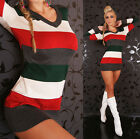 NEW SEXY STRIPED MULTI-COLOUR LONG DRESS JUMPER/SWEATER 6 8 10 PARTY/CLUB/CASUAL