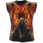 Spiral Direct Flaming Death Winged Grim Reaper Gothic Sleeveless Vest Top