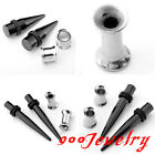 2Pairs Steel Black Taper Kit Stretcher + Silvery Horn Tunnel Plug Expander Set