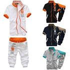 Mens Boys Tracksuit Short Sleeve Tops&Shorts Set Joggers 3/4 Bottom Activewear