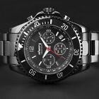 INFANTRY Mens 24 Hour Quartz Watch Glow In Dark Pilot Stainless Steel Waterproof