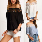 Womens Off Shoulder Lace Short Sleeve T-Shirt Summer Casual Loose Tops Tee New