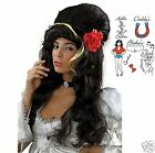 Adult Amy Winehouse Black Beehive Wig + Tattoos + Rose 60s Fancy Dress Costume