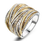 Vintage Two Tone Silver&Gold Punk Rock Titanium Steel Rings Stainless Steel Ring