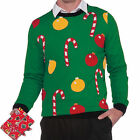 Ornaments And Candy Canes Ugly Christmas Sweater Tacky Holiday Sweatshirt New