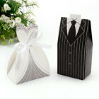 100/200 Pc Dress Tuxedo Bride Groom Ribbon Wedding Favor Ribbon Candy Boxes