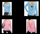 Danskin Now Studio Women's Long Sleeve Tee with Draped Back Blue or Red Small