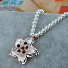 Womens Luxury Exquisite Gold Flower Pearl Crystal Party Necklace Sweather Chain