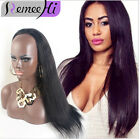"The Hot 15"" 120g 18"" 160g Machine weft cap Remy Human Hair Glueless 3/4 Half Wig"