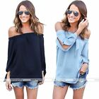 Summer Women Girls Off Shoulder Shirt Casual Blouse T-Shirt Crop Top