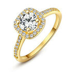 Stylish ROXI Heart and Arrow Rounded Square Zircon Woman Ring Jewelry Golden