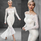 New Fashion Women Sexy White Long Sleeve Bodycon Wedding Party Fishtail Dress