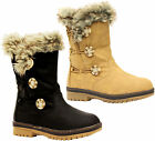 Ladies Mid Calf Grip Sole Fur Lined Quilt Women Snow Rain Warm Winter Boots Size